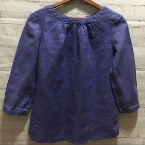 Boden periwinkle linen 3/4 sleeve Katie blouse 6